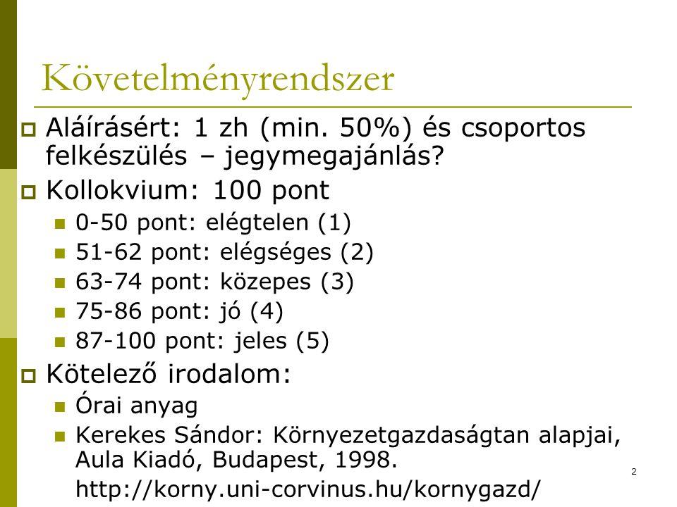 Követelményrendszer Aláírásért: 1 zh (min. 50%) és csoportos felkészülés – jegymegajánlás Kollokvium: 100 pont.
