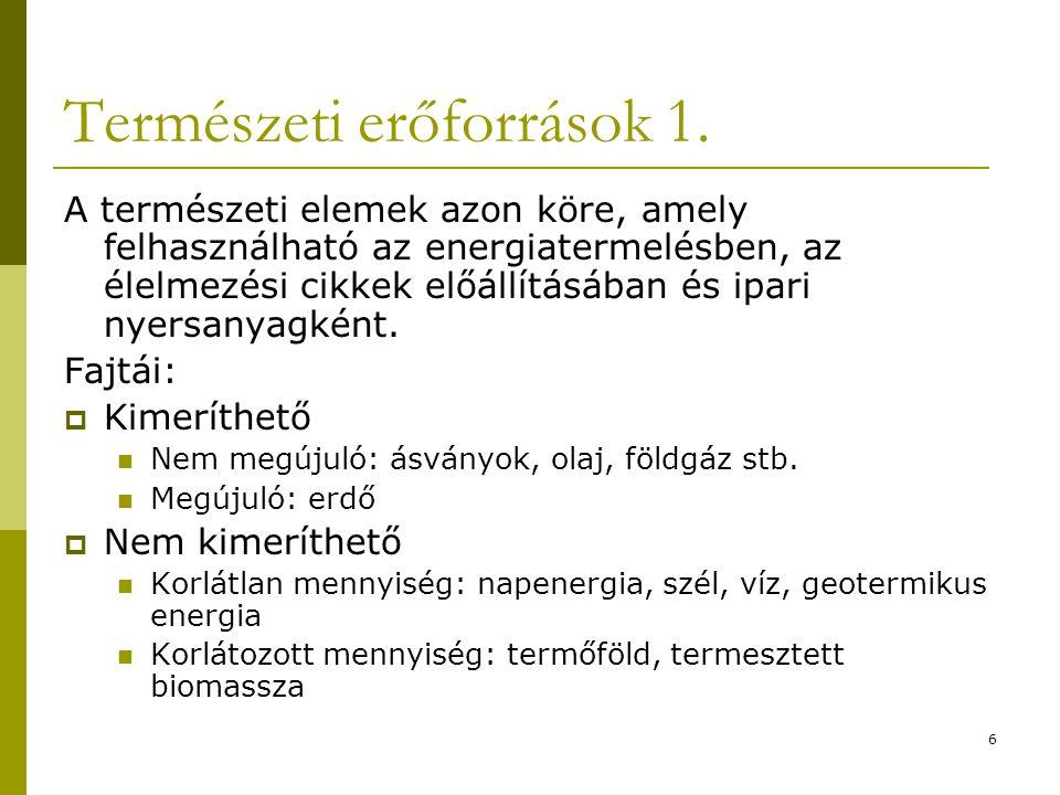 Természeti erőforrások 1.
