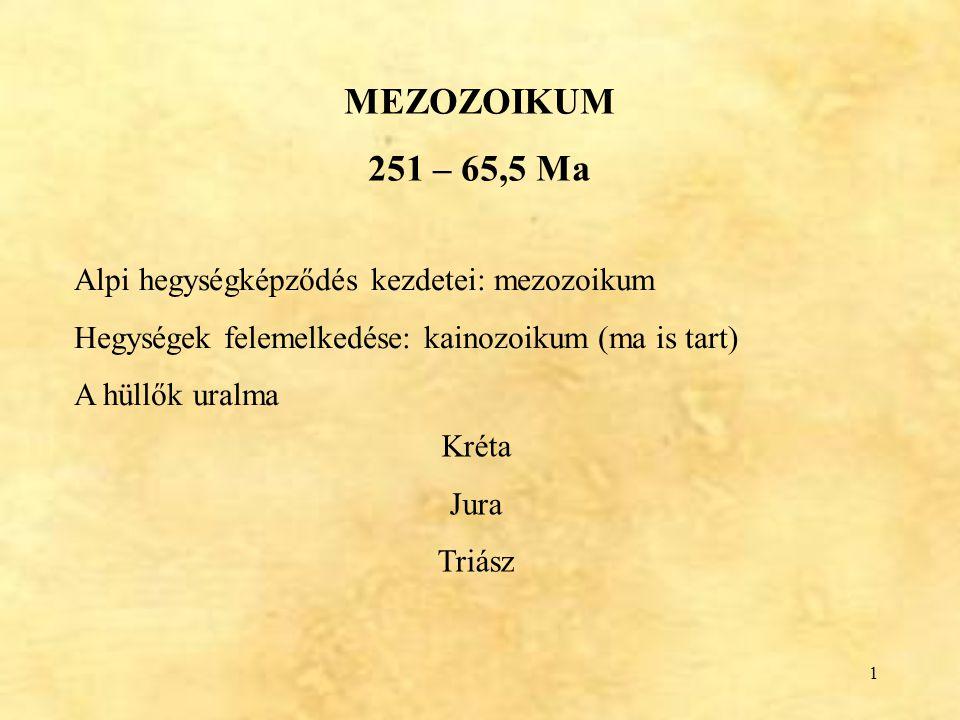 MEZOZOIKUM 251 – 65,5 Ma Alpi hegységképződés kezdetei: mezozoikum