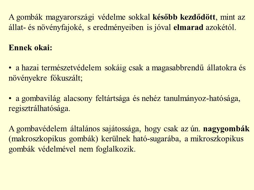 A gombák magyarországi védelme sokkal később kezdődött, mint az állat- és növényfajoké, s eredményeiben is jóval elmarad azokétól.