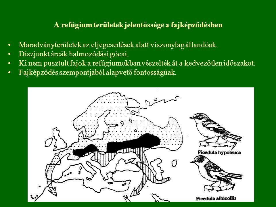 A refúgium területek jelentőssége a fajképződésben