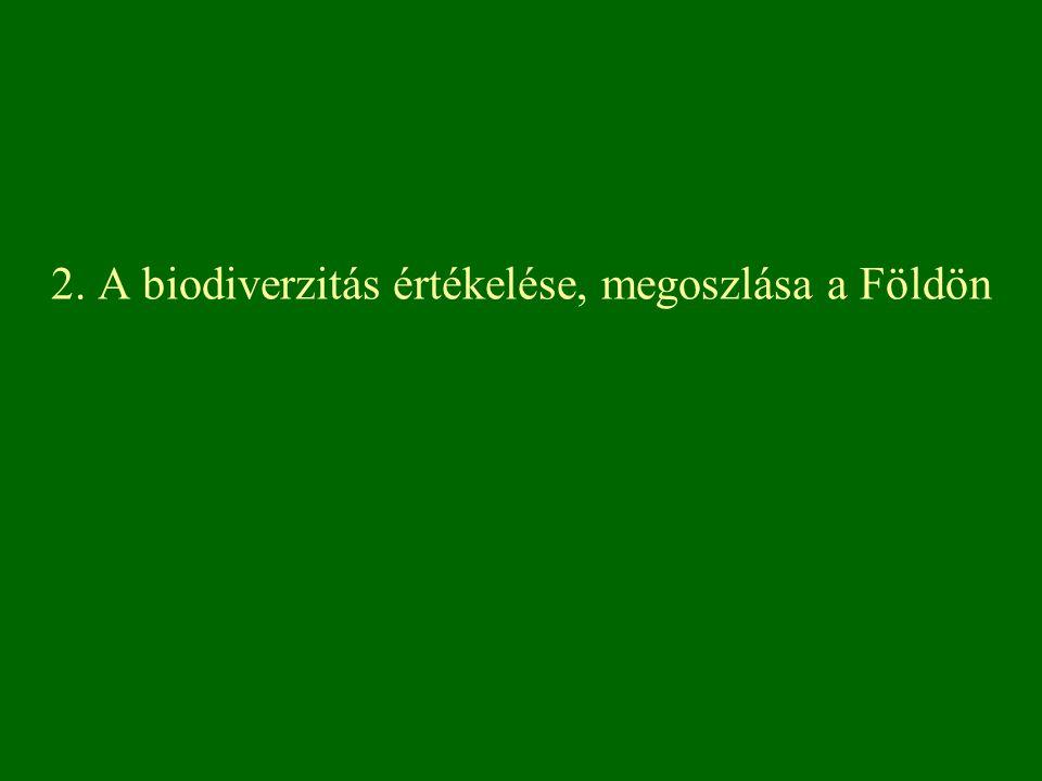2. A biodiverzitás értékelése, megoszlása a Földön