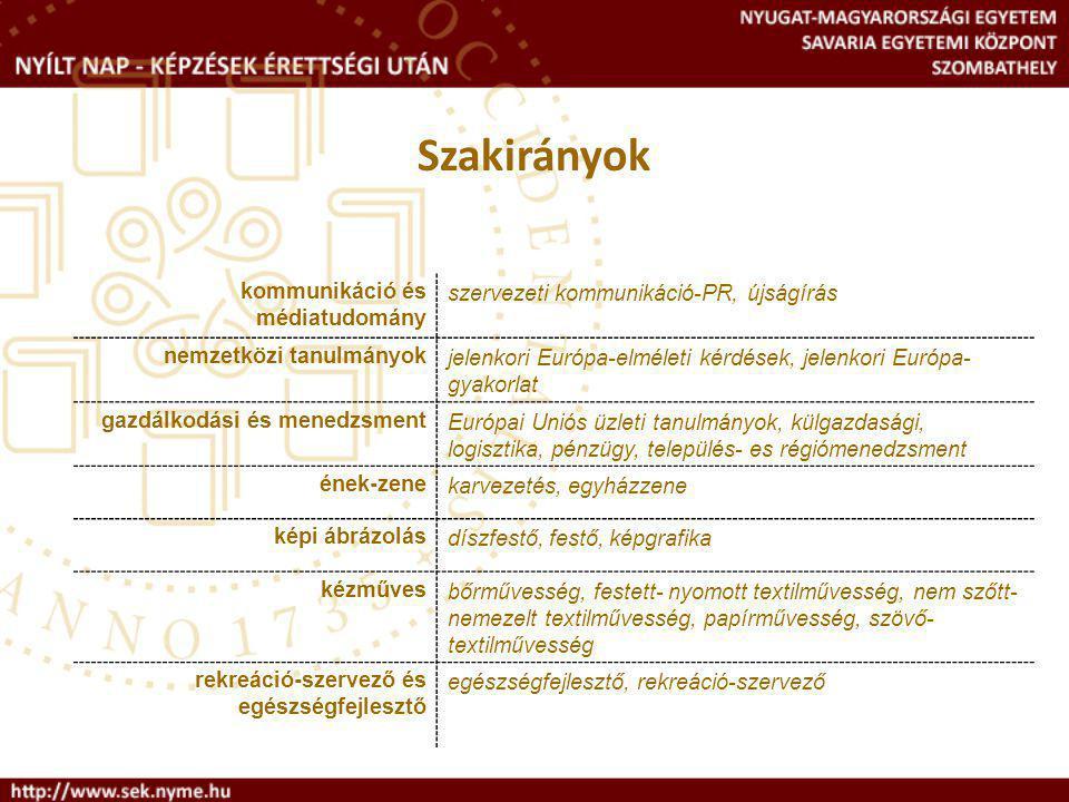 Szakirányok kommunikáció és médiatudomány. szervezeti kommunikáció-PR, újságírás. nemzetközi tanulmányok.
