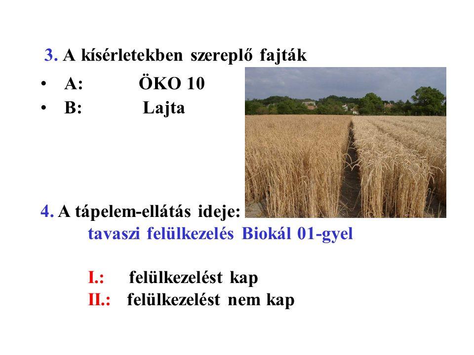 3. A kísérletekben szereplő fajták