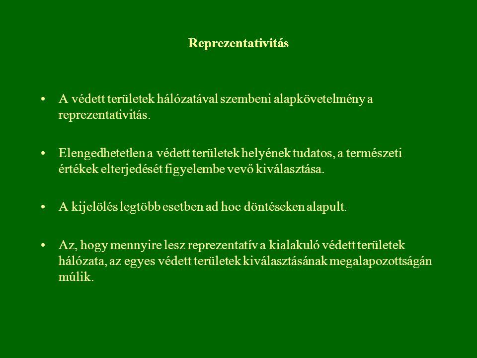 Reprezentativitás A védett területek hálózatával szembeni alapkövetelmény a reprezentativitás.