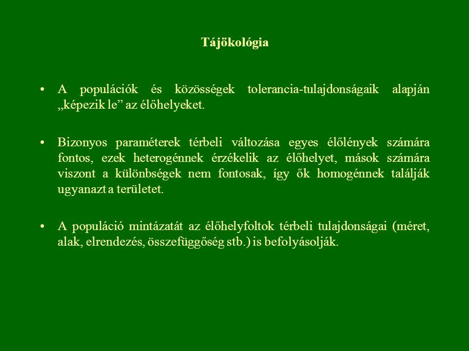 """Tájökológia A populációk és közösségek tolerancia-tulajdonságaik alapján """"képezik le az élőhelyeket."""