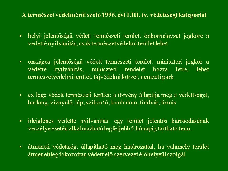 A természet védelméről szóló 1996. évi LIII. tv. védettségi kategóriái