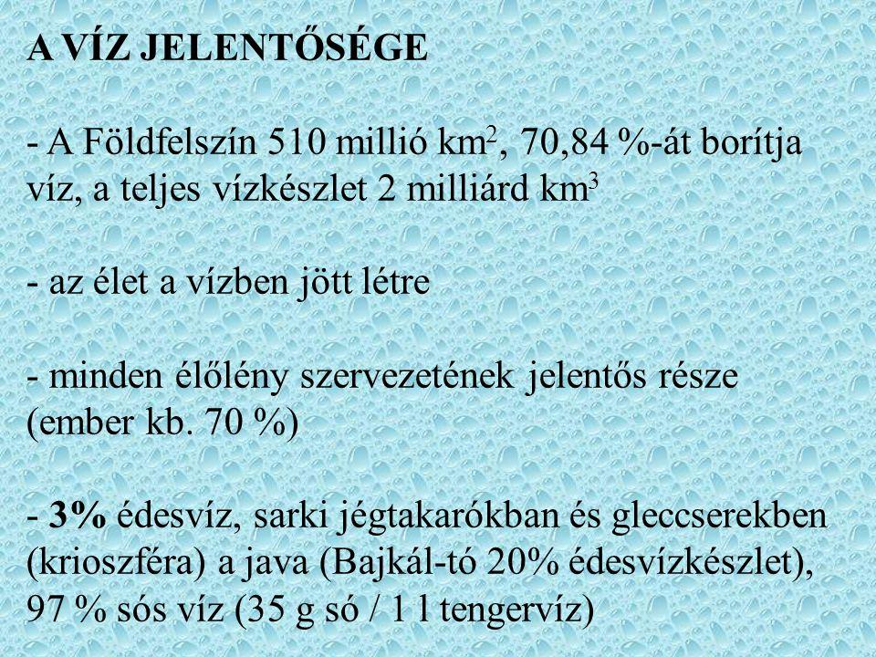 A VÍZ JELENTŐSÉGE - A Földfelszín 510 millió km2, 70,84 %-át borítja víz, a teljes vízkészlet 2 milliárd km3.