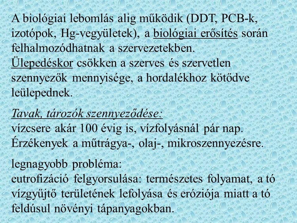 A biológiai lebomlás alig működik (DDT, PCB-k, izotópok, Hg-vegyületek), a biológiai erősítés során felhalmozódhatnak a szervezetekben.