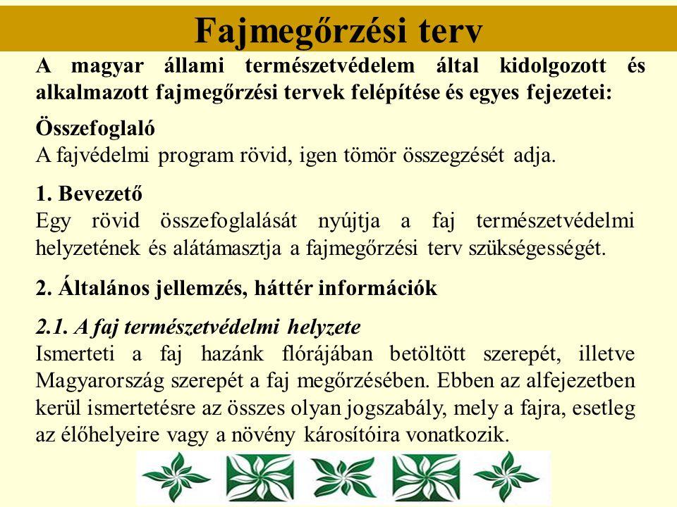 Fajmegőrzési terv A magyar állami természetvédelem által kidolgozott és alkalmazott fajmegőrzési tervek felépítése és egyes fejezetei: