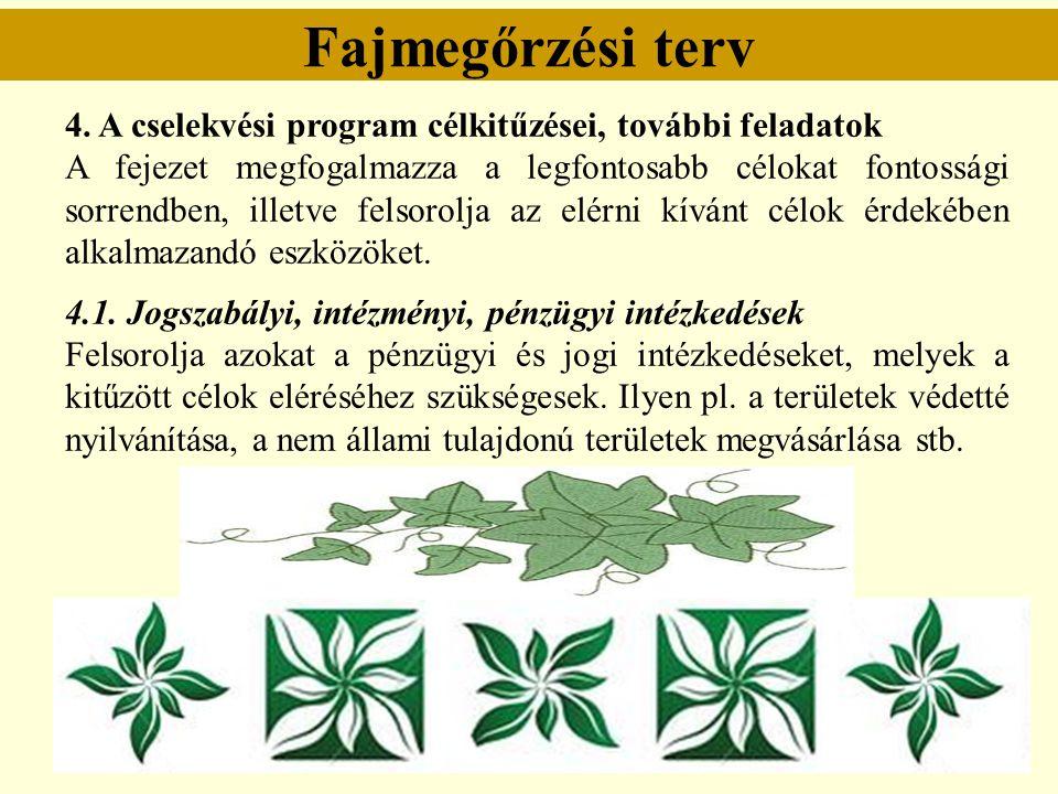 Fajmegőrzési terv 4. A cselekvési program célkitűzései, további feladatok.