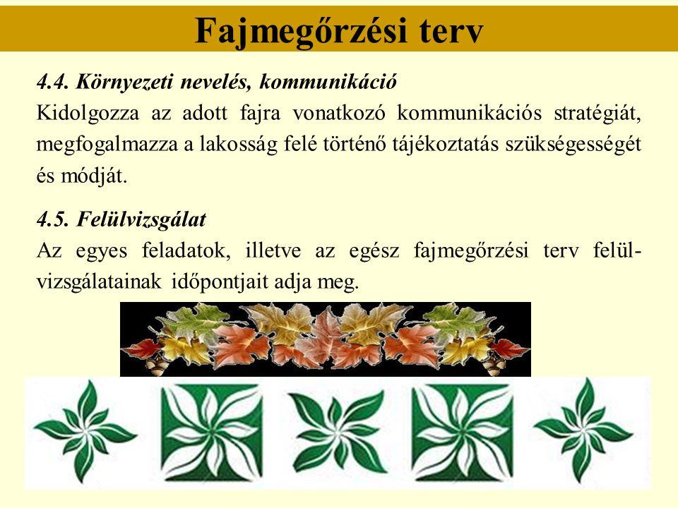Fajmegőrzési terv 4.4. Környezeti nevelés, kommunikáció