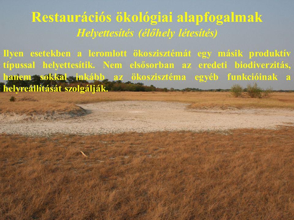 Restaurációs ökológiai alapfogalmak Helyettesítés (élőhely létesítés)