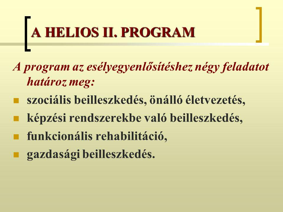 A HELIOS II. PROGRAM A program az esélyegyenlősítéshez négy feladatot határoz meg: szociális beilleszkedés, önálló életvezetés,