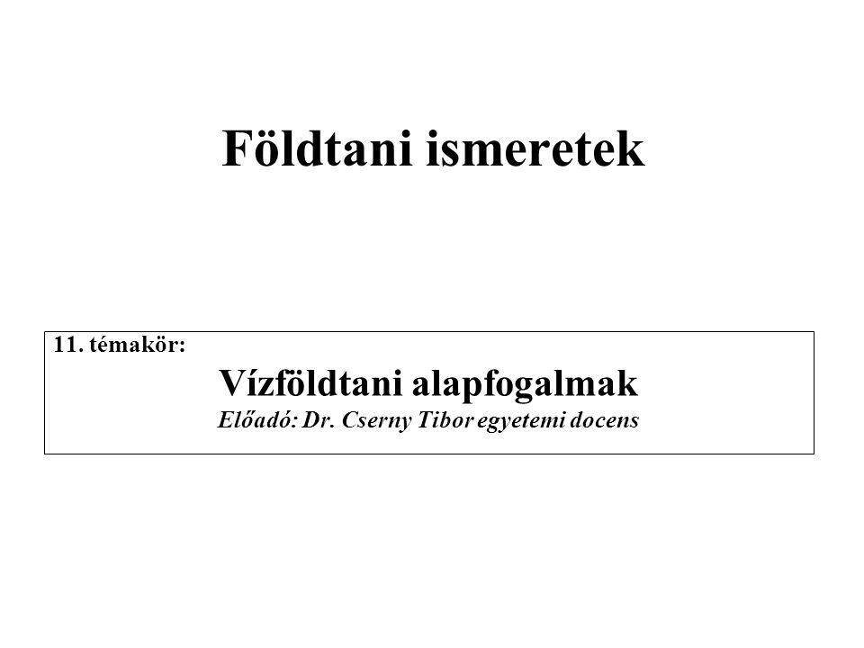 Vízföldtani alapfogalmak Előadó: Dr. Cserny Tibor egyetemi docens
