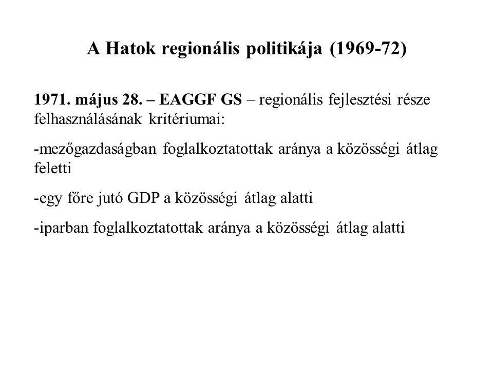 A Hatok regionális politikája (1969-72)