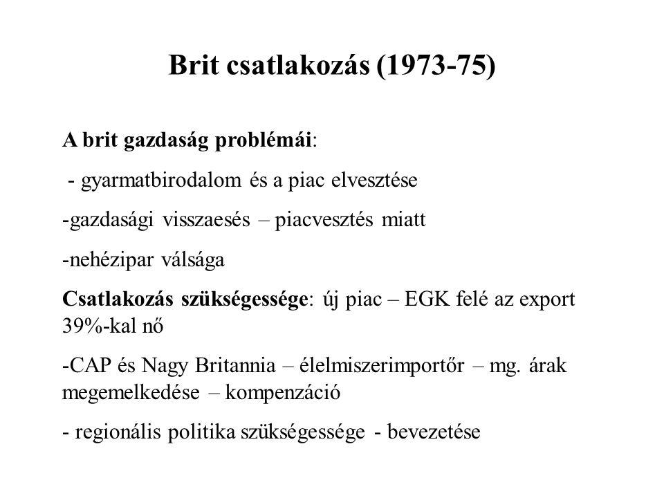 Brit csatlakozás (1973-75) A brit gazdaság problémái: