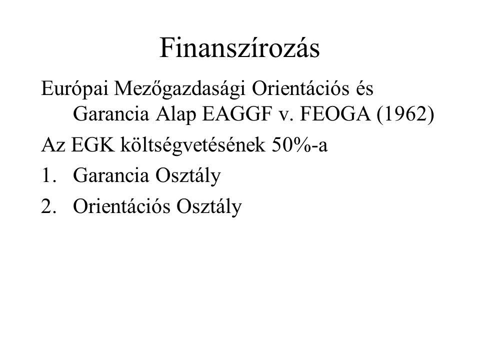 Finanszírozás Európai Mezőgazdasági Orientációs és Garancia Alap EAGGF v. FEOGA (1962) Az EGK költségvetésének 50%-a.