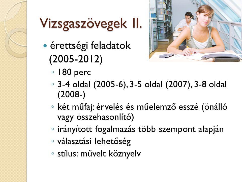 Vizsgaszövegek II. érettségi feladatok (2005-2012) 180 perc