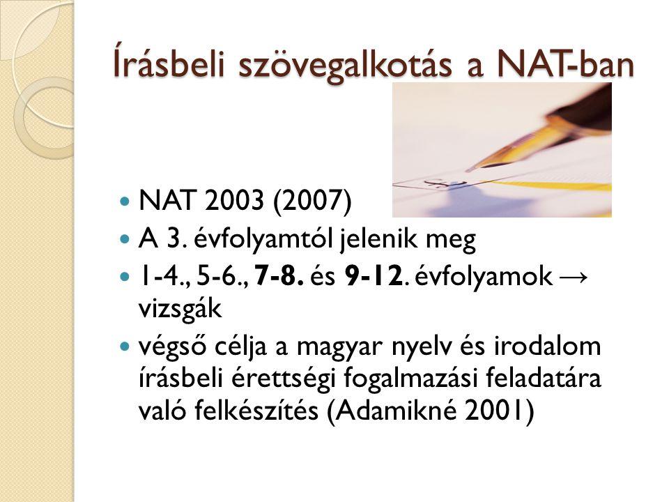 Írásbeli szövegalkotás a NAT-ban