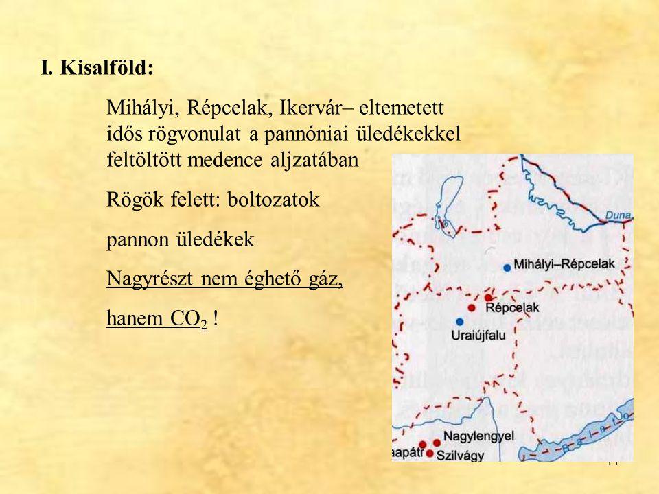 I. Kisalföld: Mihályi, Répcelak, Ikervár– eltemetett idős rögvonulat a pannóniai üledékekkel feltöltött medence aljzatában.