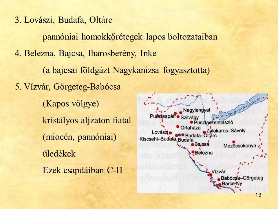 3. Lovászi, Budafa, Oltárc pannóniai homokkőrétegek lapos boltozataiban. 4. Belezna, Bajcsa, Iharosberény, Inke.