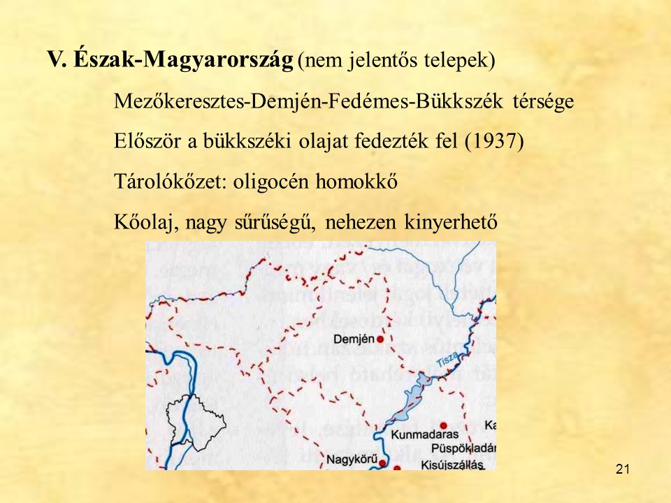 V. Észak-Magyarország (nem jelentős telepek)