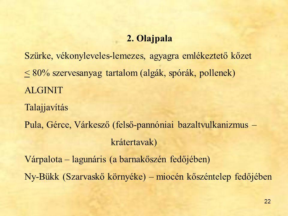 2. Olajpala Szürke, vékonyleveles-lemezes, agyagra emlékeztető kőzet. < 80% szervesanyag tartalom (algák, spórák, pollenek)