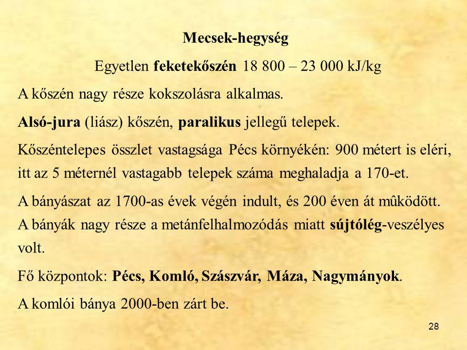 Egyetlen feketekőszén 18 800 – 23 000 kJ/kg