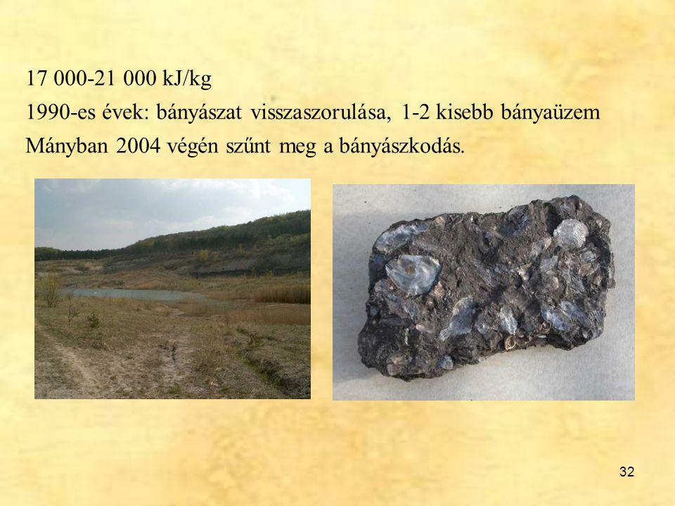 17 000-21 000 kJ/kg 1990-es évek: bányászat visszaszorulása, 1-2 kisebb bányaüzem.