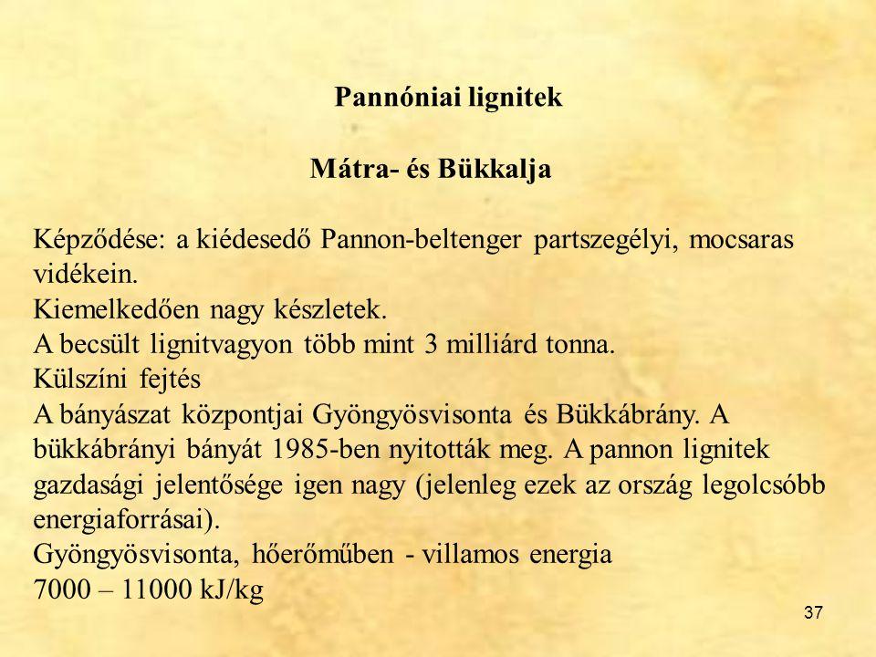 Pannóniai lignitek Mátra- és Bükkalja. Képződése: a kiédesedő Pannon-beltenger partszegélyi, mocsaras vidékein.
