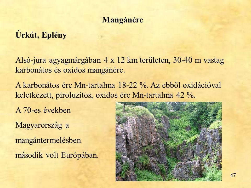 Mangánérc Úrkút, Eplény. Alsó-jura agyagmárgában 4 x 12 km területen, 30-40 m vastag karbonátos és oxidos mangánérc.