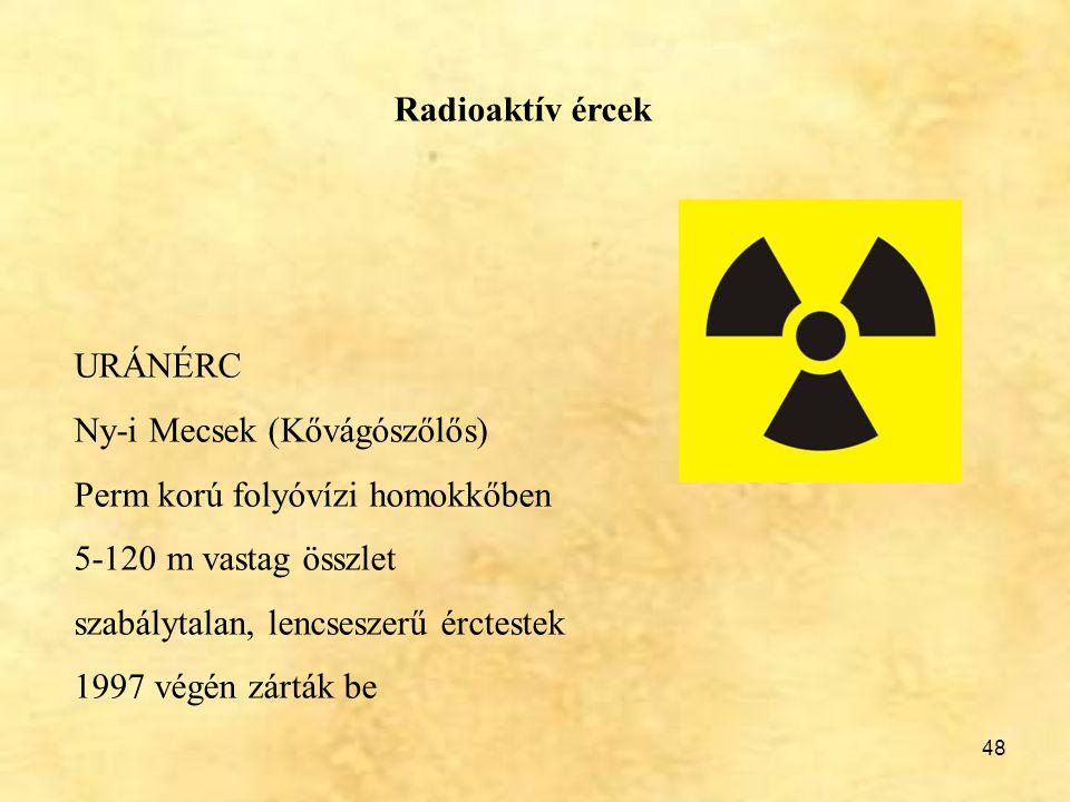 Radioaktív ércek URÁNÉRC. Ny-i Mecsek (Kővágószőlős) Perm korú folyóvízi homokkőben. 5-120 m vastag összlet.