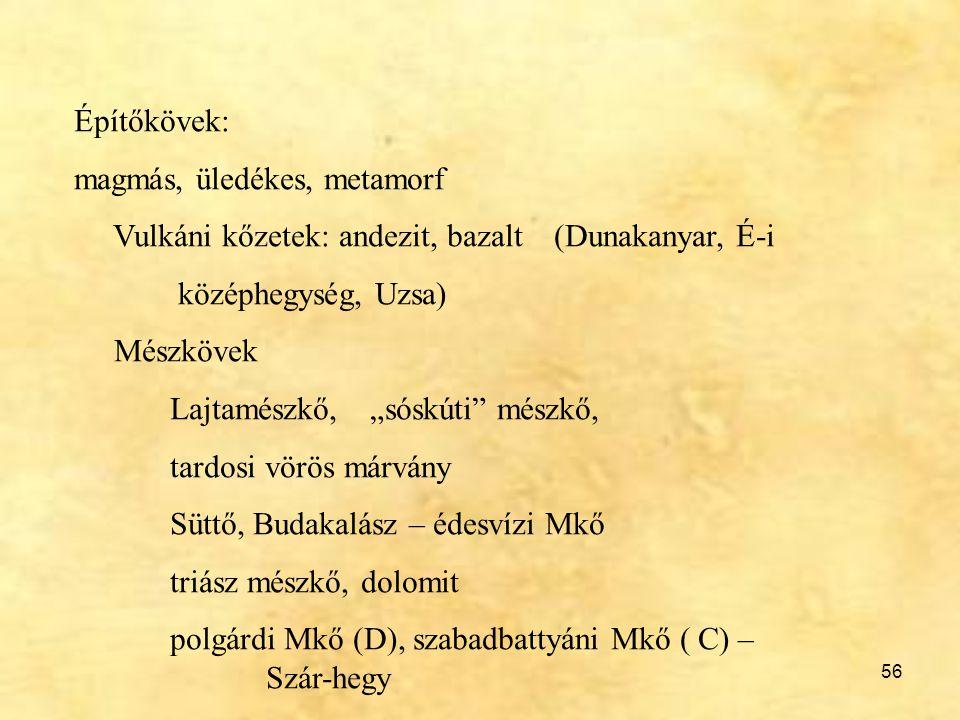 Építőkövek: magmás, üledékes, metamorf. Vulkáni kőzetek: andezit, bazalt (Dunakanyar, É-i. középhegység, Uzsa)