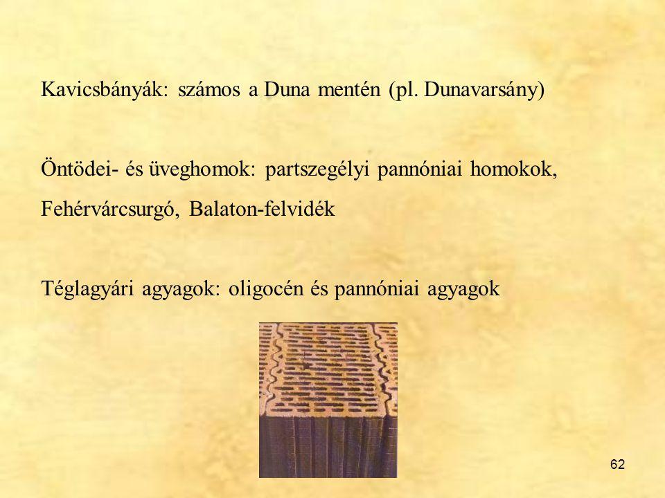 Kavicsbányák: számos a Duna mentén (pl. Dunavarsány)