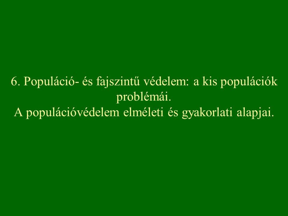 6. Populáció- és fajszintű védelem: a kis populációk problémái
