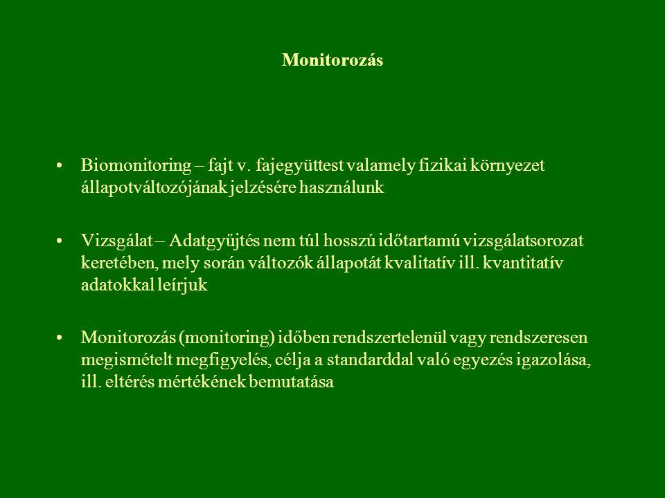 Monitorozás Biomonitoring – fajt v. fajegyüttest valamely fizikai környezet állapotváltozójának jelzésére használunk.