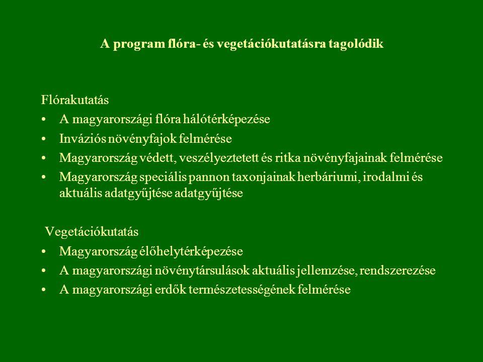 A program flóra- és vegetációkutatásra tagolódik