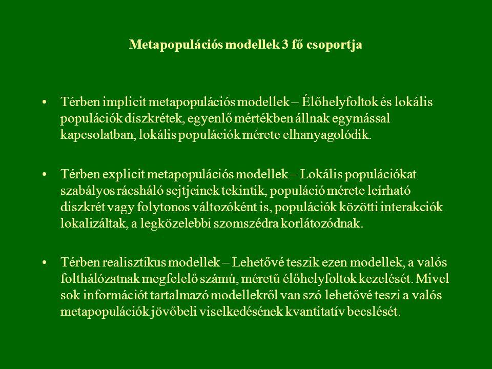 Metapopulációs modellek 3 fő csoportja