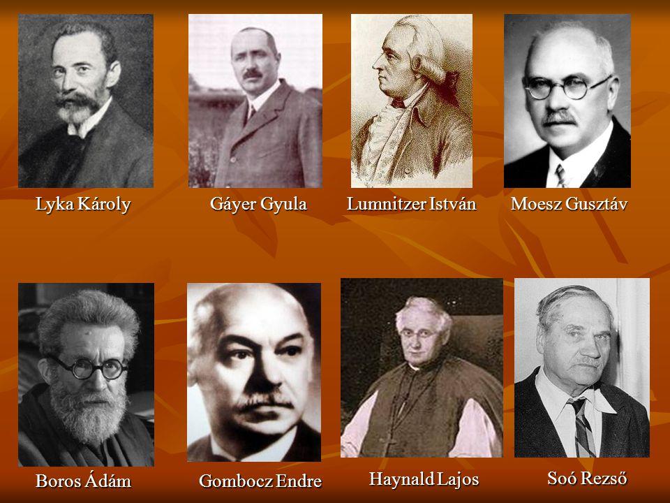 Lyka Károly Gáyer Gyula. Lumnitzer István. Moesz Gusztáv. Boros Ádám. Gombocz Endre. Haynald Lajos.