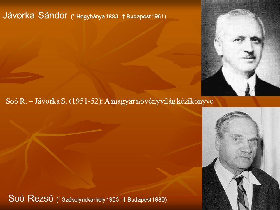 Jávorka Sándor (* Hegybánya 1883 - † Budapest 1961)