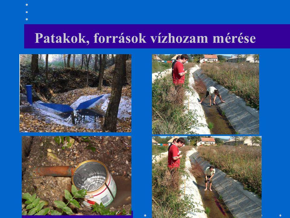 Patakok, források vízhozam mérése