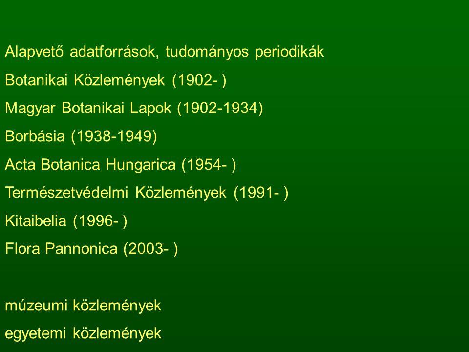Alapvető adatforrások, tudományos periodikák