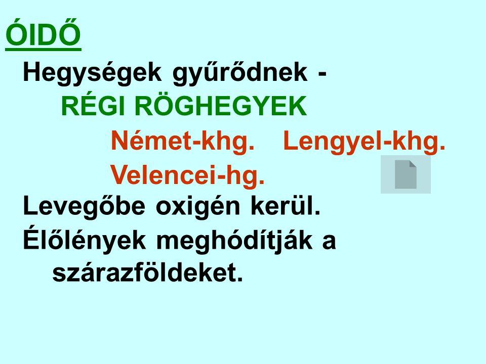 ÓIDŐ Hegységek gyűrődnek - RÉGI RÖGHEGYEK Német-khg. Lengyel-khg.