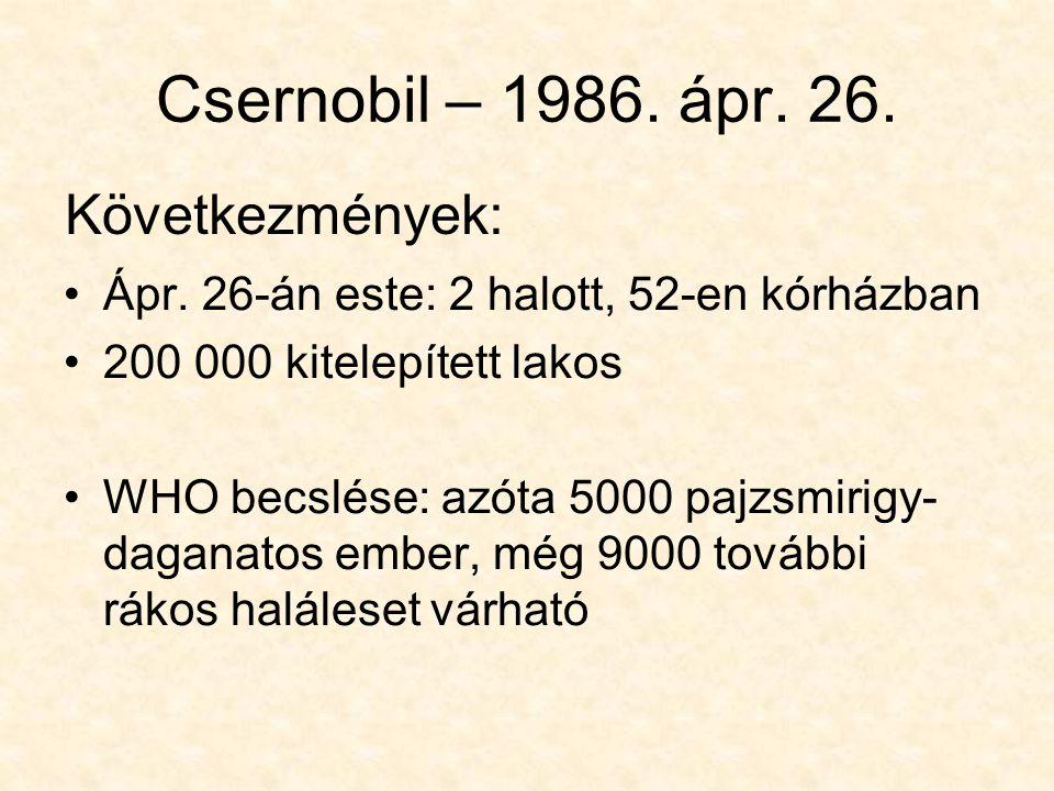 Csernobil – 1986. ápr. 26. Következmények:
