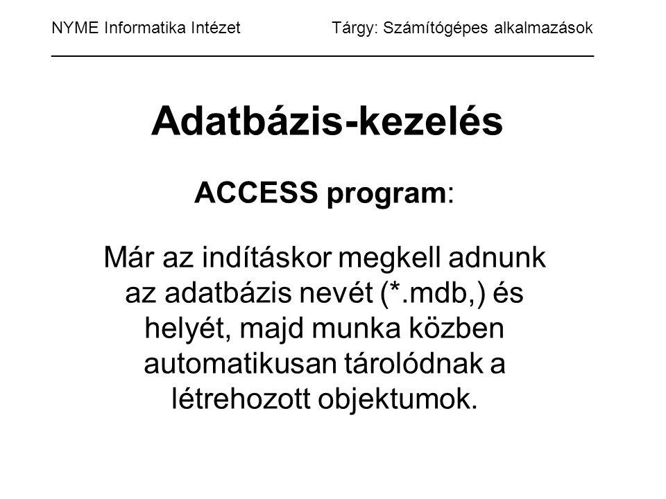Adatbázis-kezelés ACCESS program: