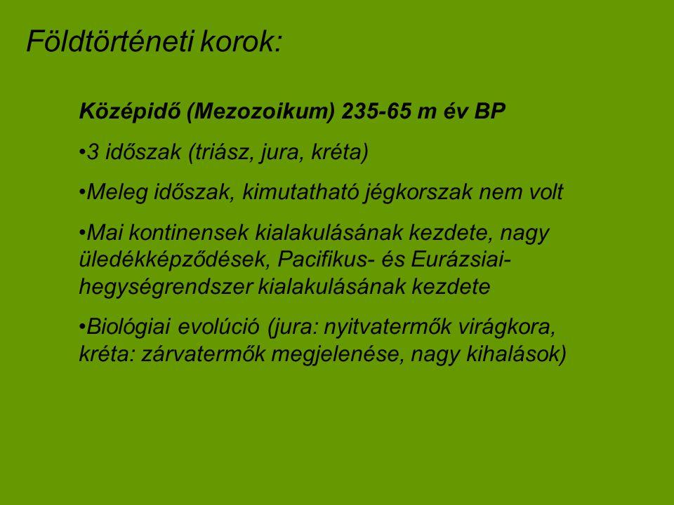 Földtörténeti korok: Középidő (Mezozoikum) 235-65 m év BP