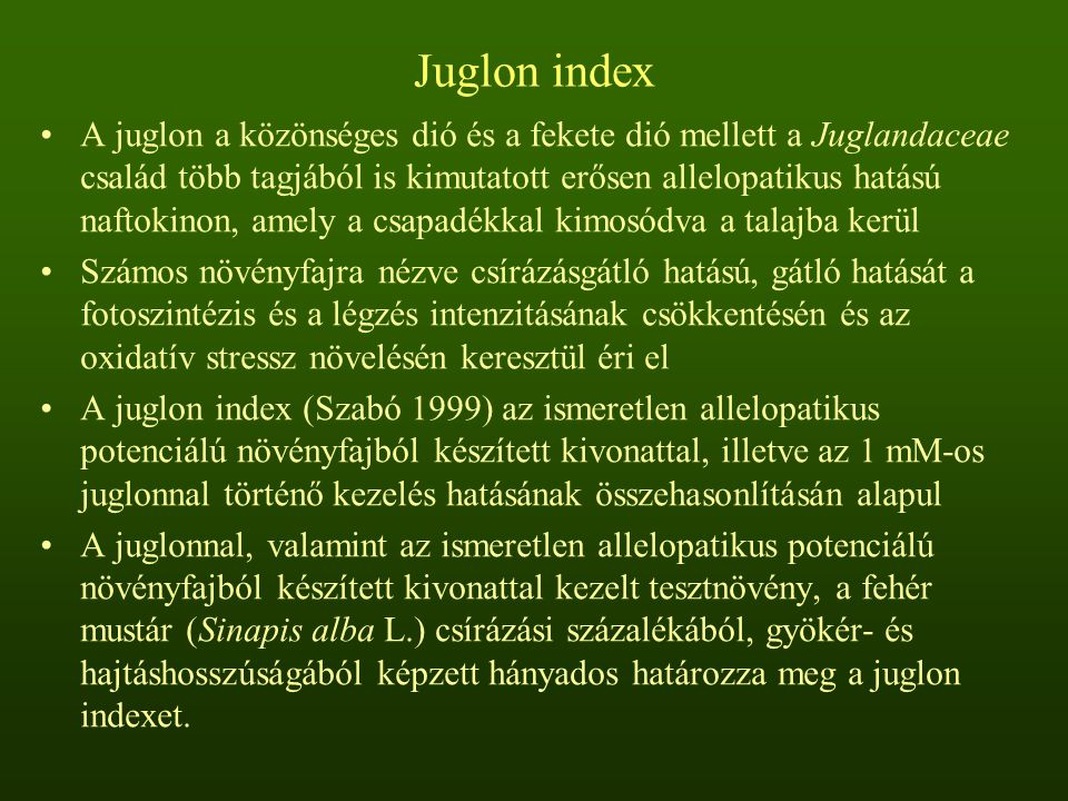 Juglon index