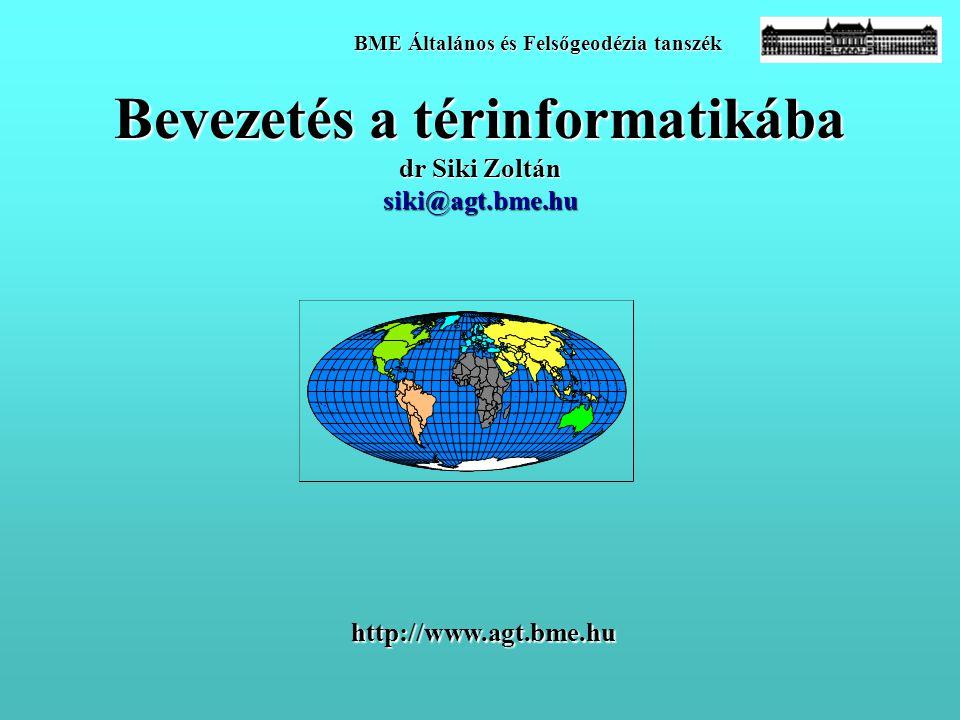 Bevezetés a térinformatikába dr Siki Zoltán siki@agt.bme.hu