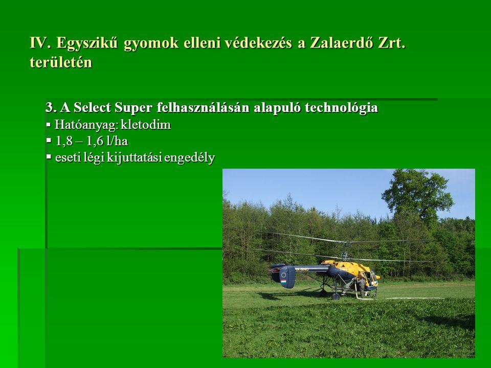 IV. Egyszikű gyomok elleni védekezés a Zalaerdő Zrt. területén